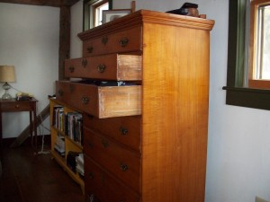 Maple chest of drawers showing paint